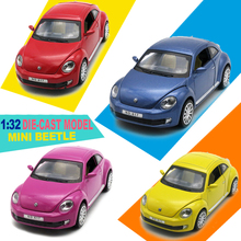 1/32 Scale VW Beetle Diecast Model Cars, Kid Boys Present, Metal Toys With Openable Doors/Pull Back Function/Music/Light(China)