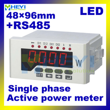 48*96mm LED digital Active power meter single phase Class 0.5 ac digital power meter with RS485(China)