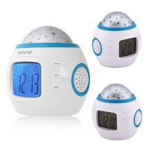 LED Projector Alarm Clock Color Change Multipurpose Star Digital Nightlight