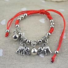 Fashion Jewelry Thin Red Thread String Rope Charm Bracelets Angel Wing Elephant Bangles for Women