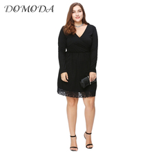 Buy DOMODA Plus Size New Fashion Women Clothing Casual Solid Sexy Lace Dress V-Neck Long Sleeve Big Size Dress 3XL 4XL 5XL 6XL for $13.59 in AliExpress store