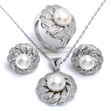 Bulk Order Luxury Design Bridal Jewelry Sets For Women 100% Genuine 925 Sterling Silver Freshwater Pearl Jewellery Set