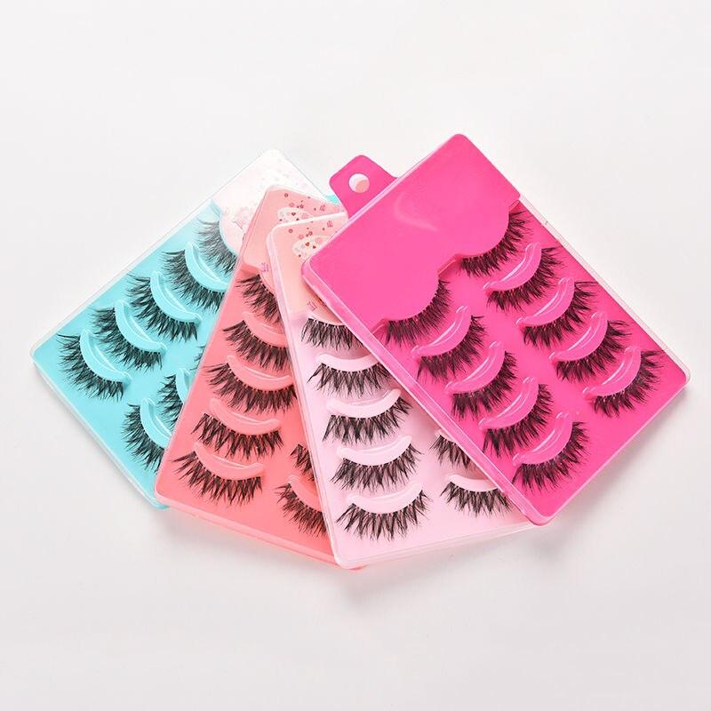 5pairs False Eyelashes Set Hand Made Crisscross Eye Lash Extension Tools False Strip Lashes Beauty Essentials 4 Color