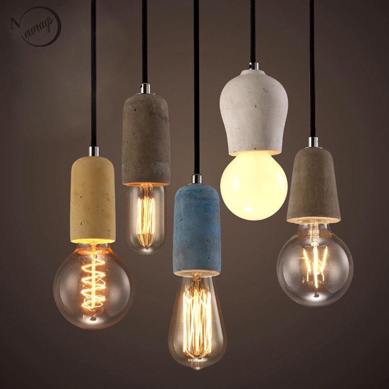 3 style colorful brief Loft Nordic Cement Pendant lights modern led E27 110V 220V cord lamp Restaurant living room cafe bedroom<br>