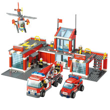 City Fire Station Rescue Fire Engine Truck Vehicle Helicopter Model Building Blocks  Set Toy Compatible with Lego Kazi 8051 8054