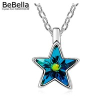 BeBella five pointed star pentagram pendant necklace Made with Austrian crystals from Swarovski for 2017 Christmas gift(China)