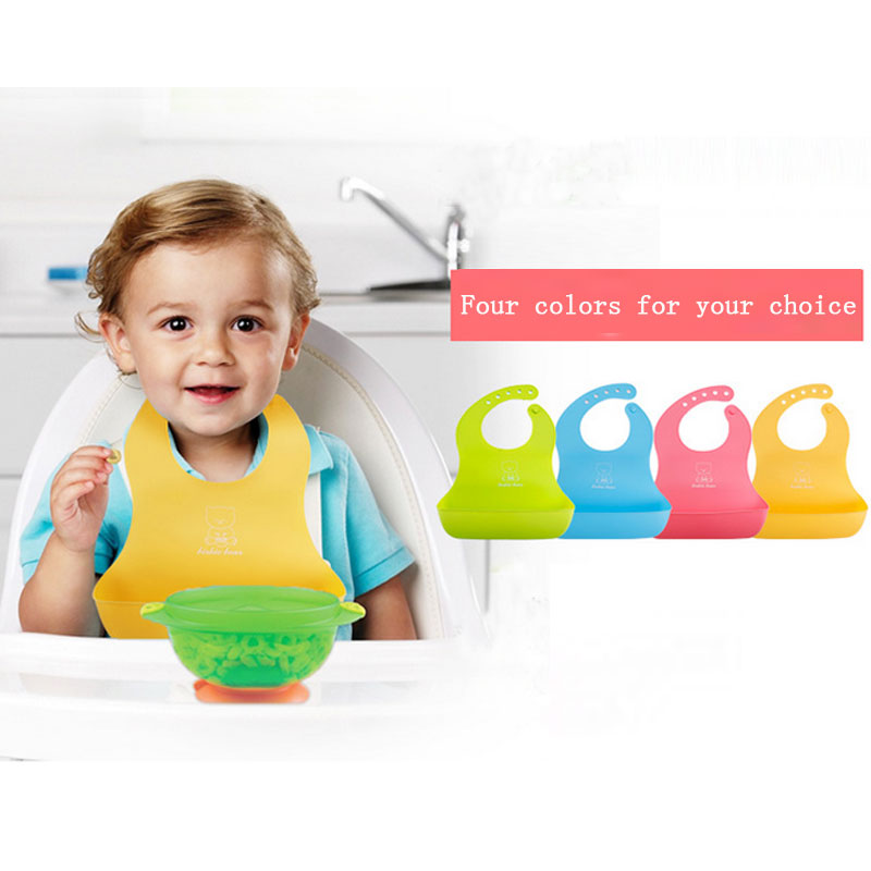 Catcher Pocket Waterproof Baby Silicone Bibs Feeding bib Kids Roll up Food