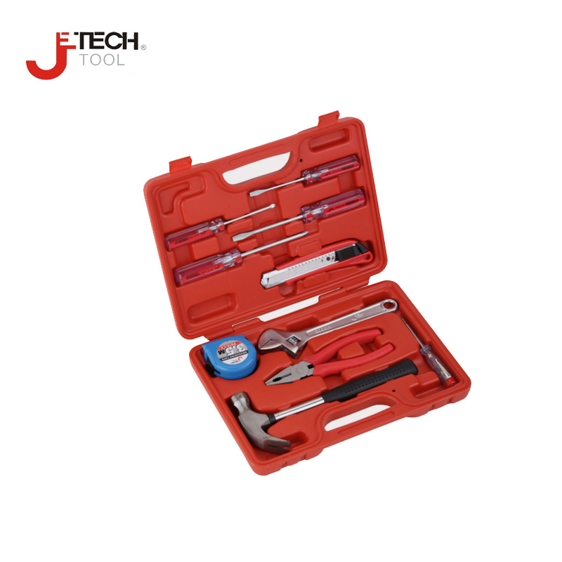 Jetech tool high quality 10pc/set household tool repair tools kits set caixa de ferramenta combination hand tools case box<br>