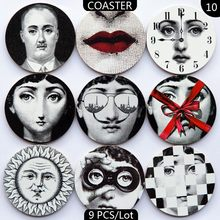 2016 Christmas Ornaments Fornasetti Coasters Insulation Mat Wood Pad Coffee Coasters MDF Fornasetti Coasters(China)