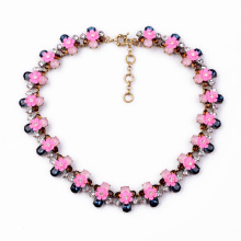 N2071New Elegance Women Fashion Necklace Bee Shaped Sweet Metal with Jeweled Pink Petite Flower Chunky Statement Choker Necklace