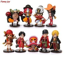 1 set of nine groups Theatrical straw hat a full figure doll ornaments hand to do animation One Piece toy model children gift