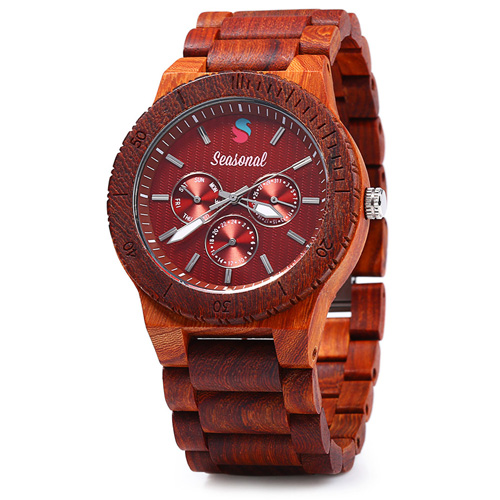2017 New Fashion Seasonal Decorative Sub-dials Male Quartz Watch Maple Band Wooden Watches Men for Christmas Gifts saat<br><br>Aliexpress