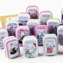 Chicken Picture Mini Tin Box Cute Candy Box Case Mac Cosmetic Lipstick Organizer Pill Jewelry Case Wedding Gift Treasure Chest