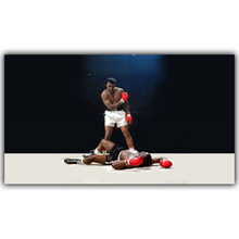 Muhammad Ali VS Sonny Liston First Minute, First Round Boxing Poster Art Silk Fabric Wall Print Picture YD375