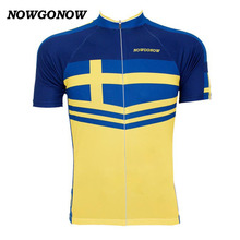 Men 2017 cycling jersey yellow Sweden national team flag V retro classic clothing world bike wear NOWGONOW racing road mountain(China)