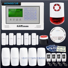 HOMSECUR App Controlled Wireless GSM LCD Home Security Alarm System With Red Flash Siren+PIR+5*Door Sensor(China)