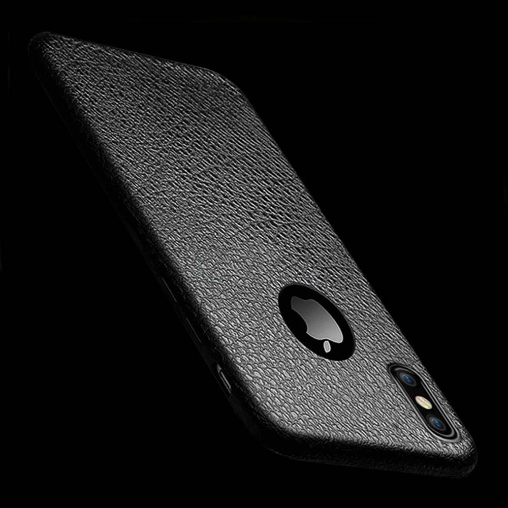 Conque For iPhone X Case Luxury Rubber Cover Leather Pattern Back Cover Soft Silocon Phone Case for iPhone X Phone Shell Cover 2