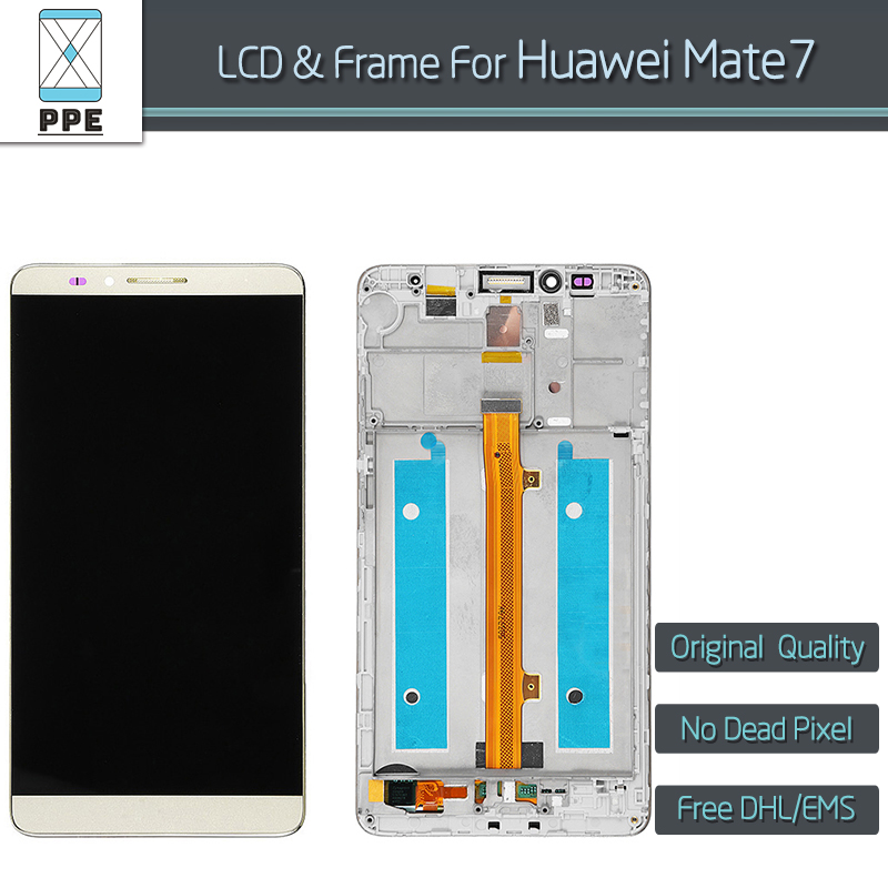 10 pcs/lot 6 Original LCD display for Huawei Mate 7 LCD display touch screen digitizer frame assembly black white gold DHL EMS<br><br>Aliexpress