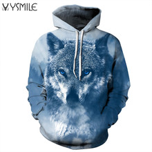 2017 New Men&Women Hoodies Wolf 3d Print Tracksuits Harajuku Hip Hop Sweatshirts Long Sleeve Pullover Hooded Loose Tops Outwears(China)