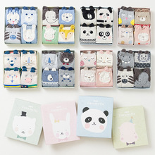 Gift Box cute 3d animal patterns cotton socks for women autumn winter fashion short socks 4pairs/lot