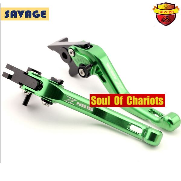 For KAWASAKI Z125 2016 Motorcycle Accessories CNC Billet Aluminum Short Brake Clutch Levers Adjustable Green<br>