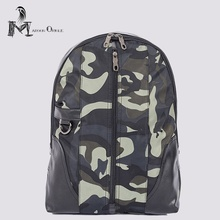 Discount Men waterproof camo backpack leather men bag pack for laptop camouflage fashion men daily commuter bag(China)