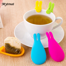 Lovely Rabbit Shaped Tea Bag Holder 1Pcs Cute Silicone Tea Infuser Cup Mug Hanging Grill Tool Gift Novelty Tools Random Color