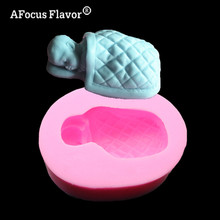 1 Pc 3D Baby Sleeping Bag Silicone Mold Chocolate Fondant Cake Decoration Soap Transparent Soap Kitchen Baking Tools Stencil(China)