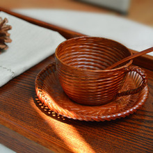 New ideas by hand the cane makes up a coffee cup spoon plate 3 times characteristics gift food cups