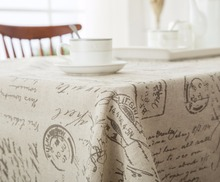 Natural Linen Fabric Rectangular Table Cloth for Dining Table Rustic Antique Fabric Household Cloth with Hebrew Words