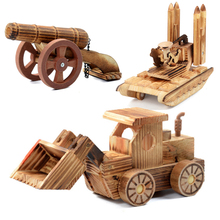 New 2017 Hot Creative Wooden Roller Excavator Artillery Bulldozer Model Wooden Car Model Crafts Gifts Educational Toy For Kids(China)