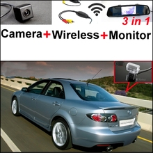 3 in1 Special Rear View Camera + Wireless Receiver + Mirror Monitor DIY Parking System For Mazda 6 Mazda6 2002~2008