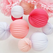 Big 32cm Accordion Pleated Paper Lanterns Watermelon Lantern Wedding Party Birthday Showers Home Event Decor(China)