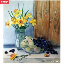 DIY 5D Diamond Embroidery Cross Stitch Still Life With Daffodils Round Full Diamond Mosaic Picture Rhinestones Pasted Needlework