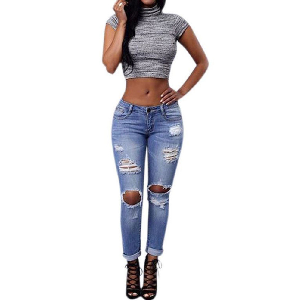 2016 Summer Womens Ladies Blue Color Cotton Faded Ripped Slim Fit Skinny Denim JeansОдежда и ак�е��уары<br><br><br>Aliexpress