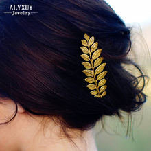 New fashion hairwear gold color leaf hairpin hair combs hair sticks barrettes gift for women girl H371(China)