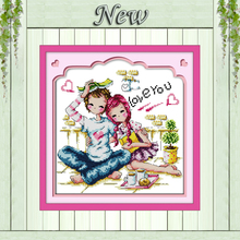 Romance partners lovers decor painting counted print on canvas DMC 14CT 11CT Chinese Cross Stitch Needlework Set Embroidery kits