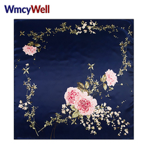 WmcyWell Womens Chinese Roses Large Square Scarves New Female Elegant Large Silk Scarf Fashion Ladies Accessories 90*90cm
