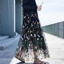 2017 Summer Luxurious Design Women Stretched Waist Flower Embroidery Vintage Skirt Runway Bohemian Mesh Skirts HIGH QUALITY Saia