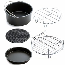 PREUP Air Frying Pan Accessories Five Piece Fryer Baking Basket Pizza Plate Grill Pot Mat Multi-functional Kitchen Accessory Hot(China)
