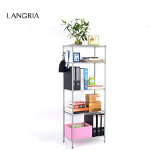 LANGRIA 5-Tier Classic Wire Storage Rack Shelving Rack Shelving Unit with Free 5-Hanger row hooks for Kitchen Bathroom