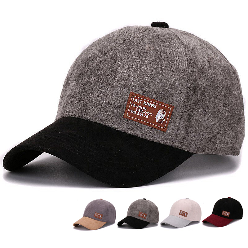 High quality Suede baseball caps with brown leather patch strap back young men outdoor sports cap and hat for men and women<br><br>Aliexpress