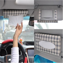 Auto Car sun visor Tissue box accessories holder Paper napkin clip- PU leather less space 22*12*2.5cm Easy fix easy use(China)