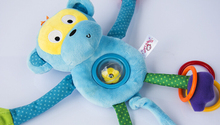 Magic post cute long arm hanging blue monkey plush toy ring bell teether doll