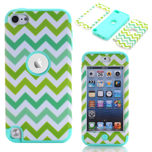 Cover For Apple iPod Touch 5 Case Hard&Soft Rubber Hybrid Waves Pattern Full Body Shell Cases w/Screen Portector Film+Stylus Pen