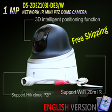Hikvision PTZ Free Shipping DS-2DE2103I-DE3/W English Version IP Network IR Mini PTZ Dome Camera Built-in WiFi Upgradable