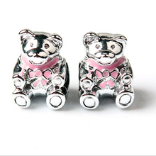 2 Pcs Silver Plated Beads Bear Shape Charms Bead Fit Snake Chain Bracelet Bangle 12 mm  Original Beads & Jewelry Making