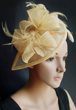 NEW Yellow gold HOT Sinamay  Fascinator/party hat in SPECIAL shape with feather for weeding races party Melbourne Cup.