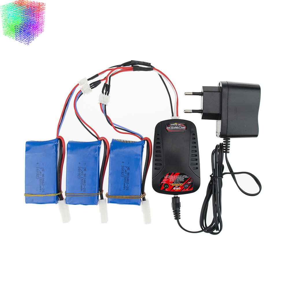 7.4v 1500mah Lipo battery batteries 3pcs and charger for Feilun FT009 2.4G RC Racing boat Spare Parts wholesales<br>