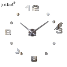 2017 new hot quartz sale quiet wall clock interesting 3d diy home decor clocks birds number art stickers single(China)